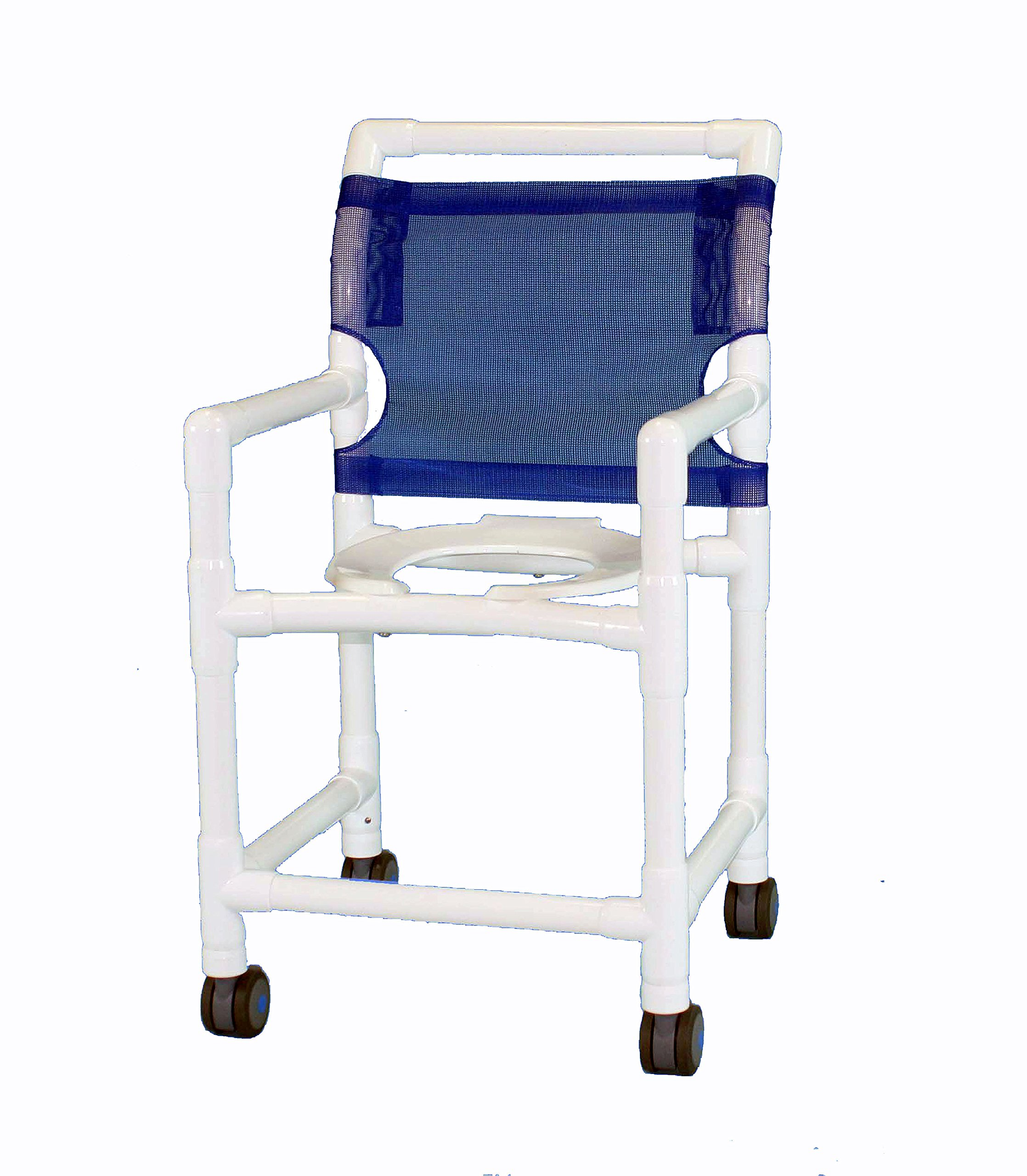 Care Products 520TW -RB 20'' Seat Height Shower Chair with 3'' EZ Clean All Locking Twin Wheel Casters, 38'' Height, 18'' width, 21'' Length