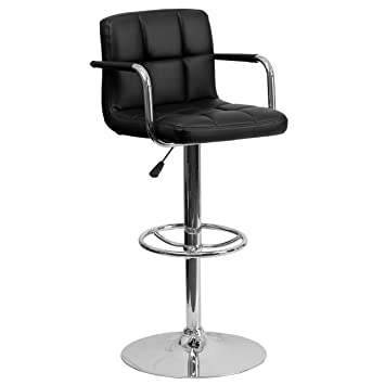 Flash Furniture Contemporary Black Quilted Vinyl Adjustable Height Barstool  With Arms And Chrome Base