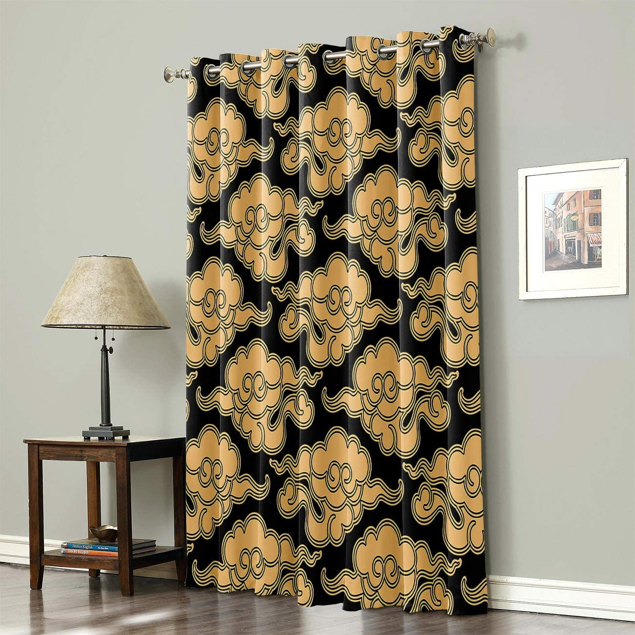 Mosphee Thermal Insulated Blackout Window Curtain Heat Blocking Home Decoration Panel Pairs for Windows with Grommet Top Yellow Pattern Chinese Vintage Cloud Japanese China Oriental Design 52x84 Inch