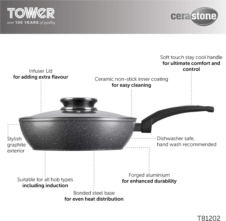Aluminium TOWER Tour Cerastone Po/êle Grill en Fonte avec rev/êtement int/érieur Anti-adh/ésif Graphite 2-in-1