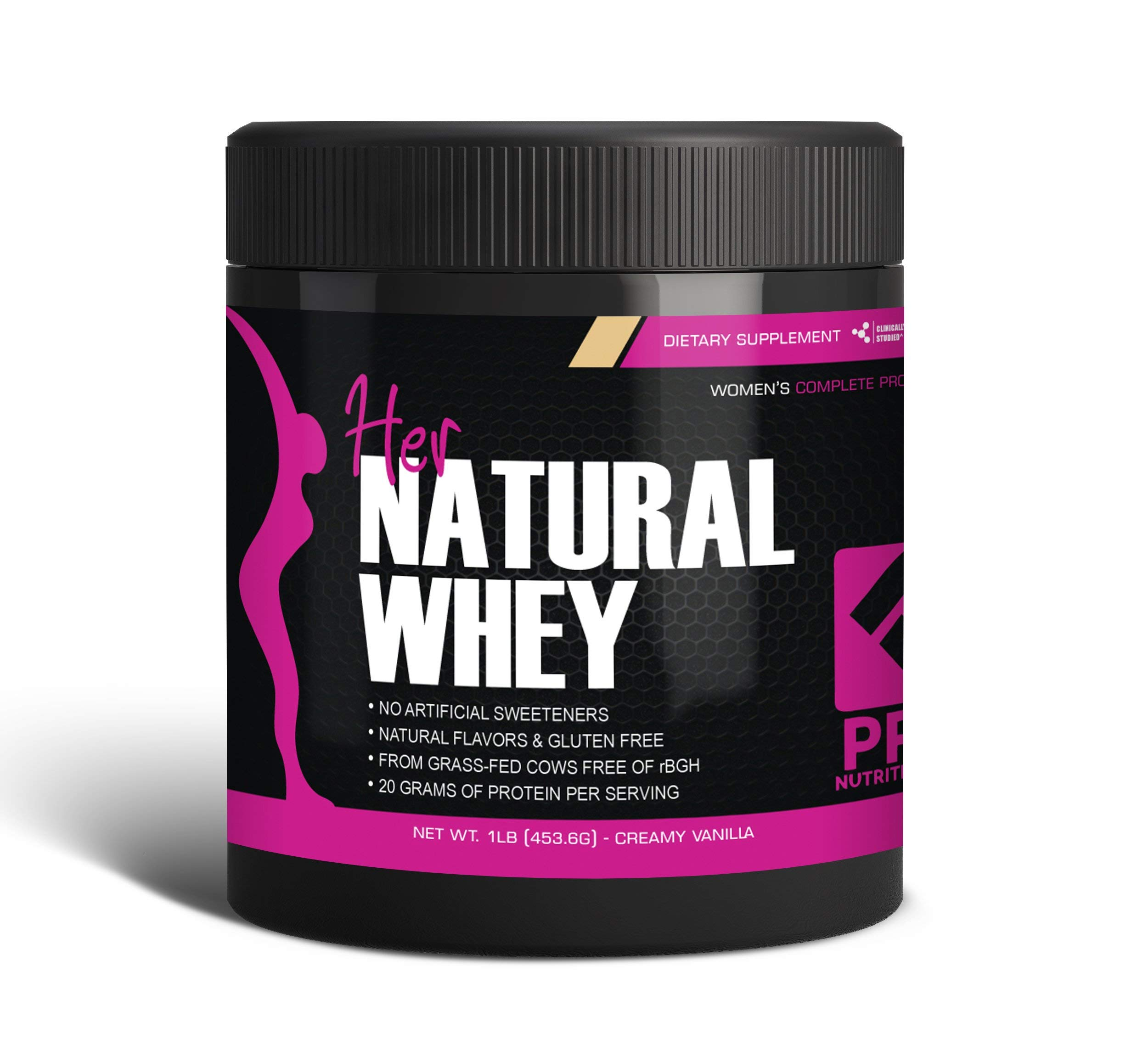 Protein Powder For Women - Her Natural Whey Protein Powder For Weight Loss & To Support Lean Muscle Mass - Low Carb - Gluten Free - rBGH Hormone Free - Naturally Sweetened with Stevia - Designed For Optimal Fat Loss (Creamy Vanilla) - Net Wt. 1 LB by Pro Nutrition Labs