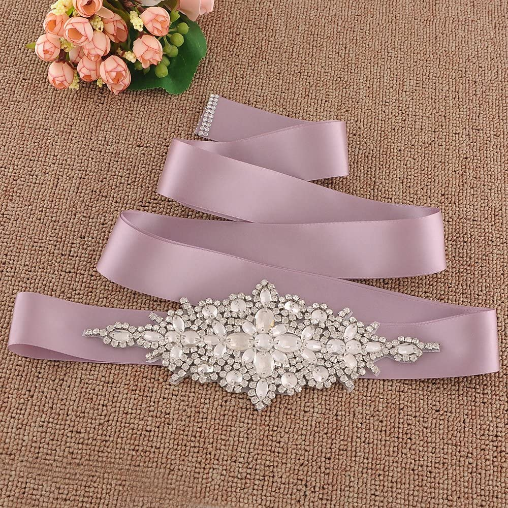 ULAPAN Womens Crystals Diamonds Wedding Belts Sash Rhinestones Bridal Belt Sashes for Wedding Dress,180228S01