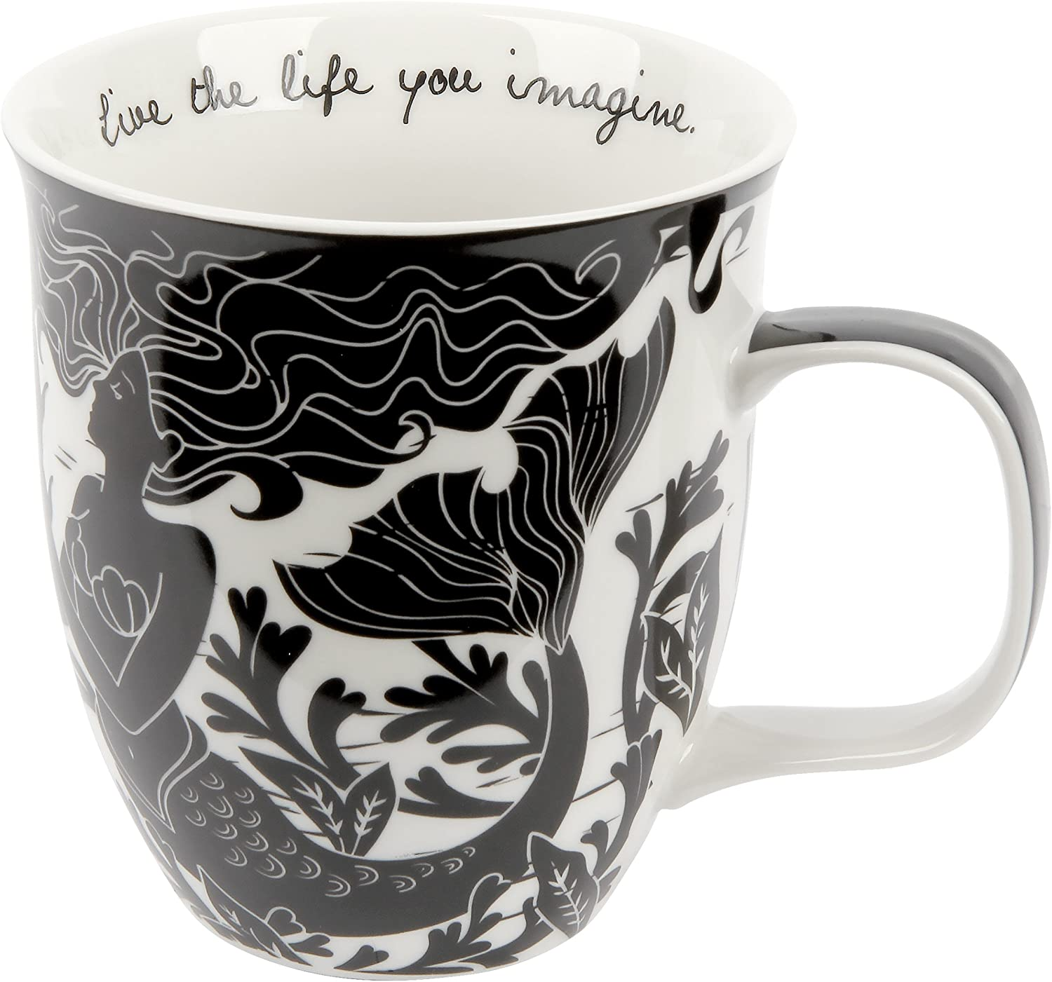 Black and White Mermaid Ceramic Mug