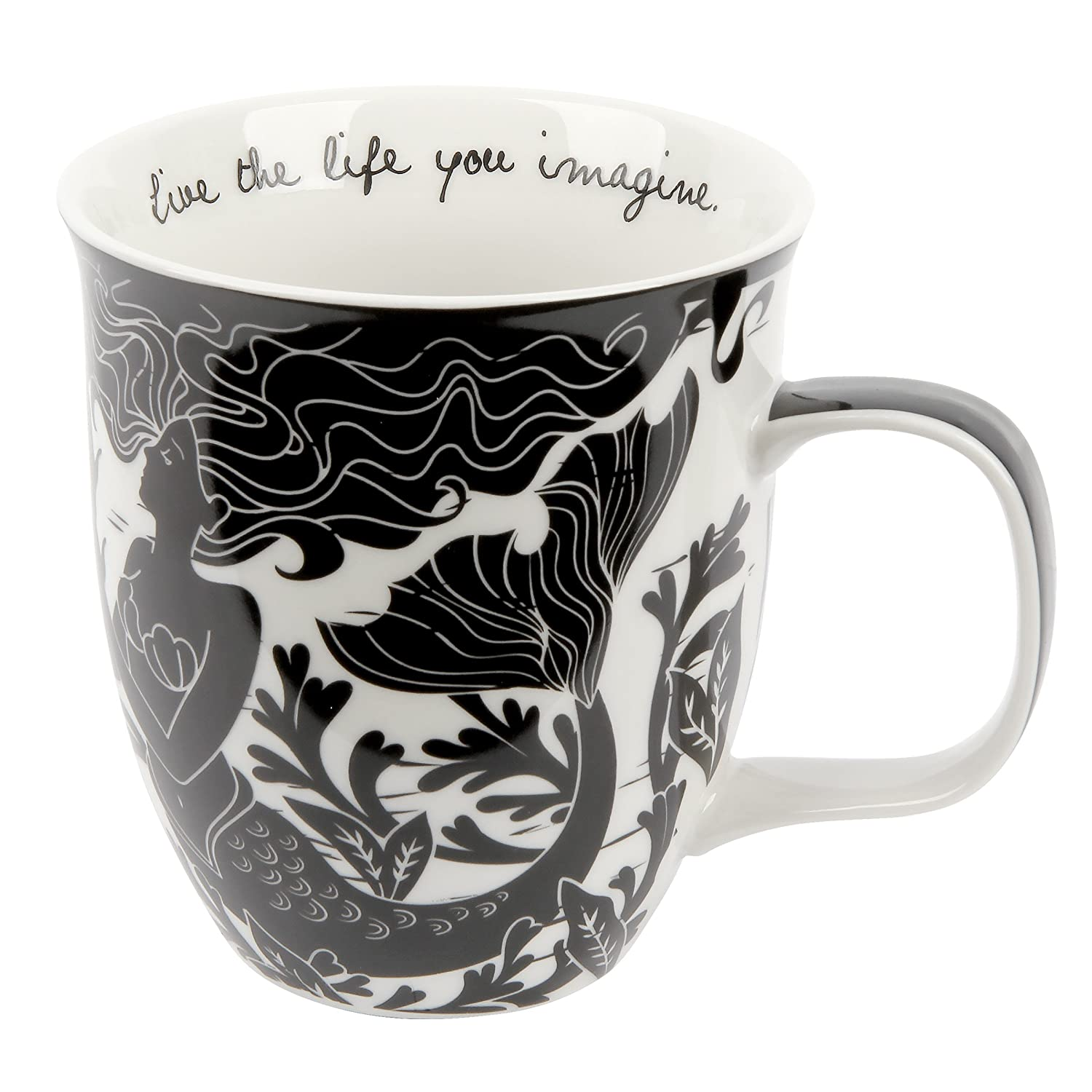 Karma Gifts Boho Black and White Mug, Mermaid