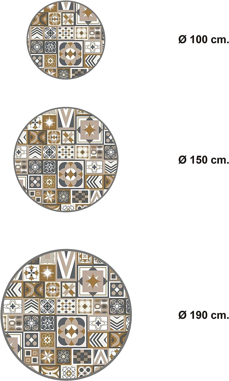 Protection du Sol Tapis de Cuisine en PVC Linol/éum Vinyle- Antid/érapant Lavable Ignifuge Panorama Tapis du Sol Vinyle Carreaux de Ciments Orange 2 Rond 100x100cm Tapis pour Cuisine Bureau Salon