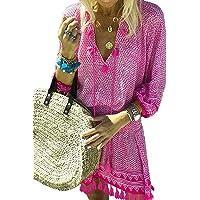 dc38c0beb34b3 Aleumdr Womens Crochet Tassel Swimsuit Bikini Pom Pom Trim Swimwear Beach  Cover Up