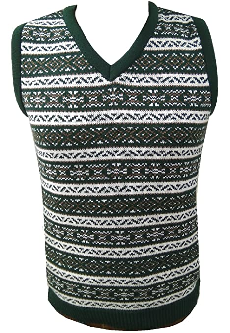 1950s Men's Clothing London Knitwear Gallery Aztec Retro Vintage Knitwear Tanktop Sleeveless Golf Sweater £18.99 AT vintagedancer.com