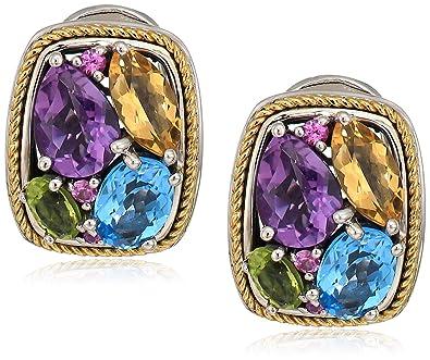 89fa50efb95 Amazon.com: Effy Womens 925 Sterling Silver/18K Yellow Gold Amethyst ...