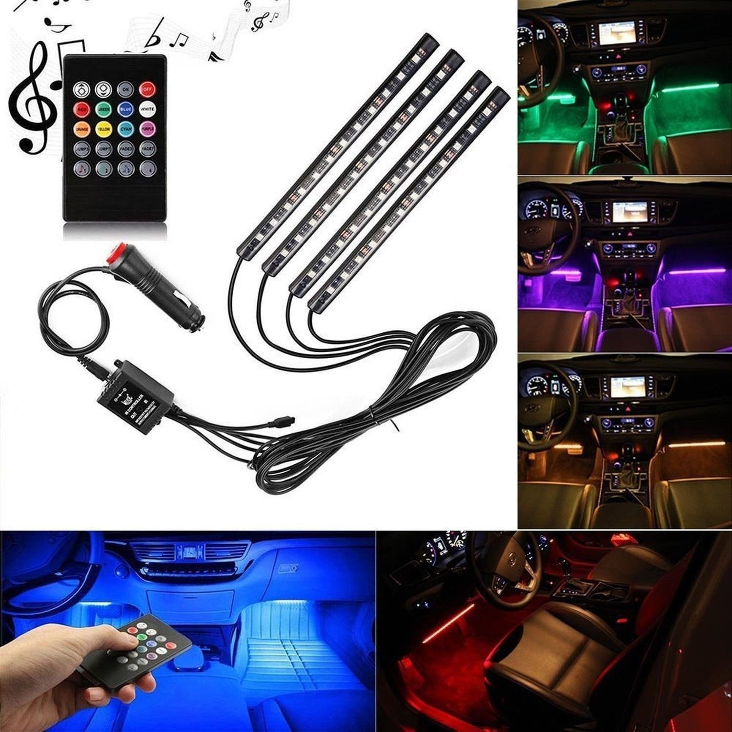 Car LED Strip Light,Yking 4pcs 48 LED DC 12V Multicolor Music Car Interior Lights LED Under Dash Lighting Waterproof Kit with Sound Active Function and Wireless Remote Control, Car Charger Included