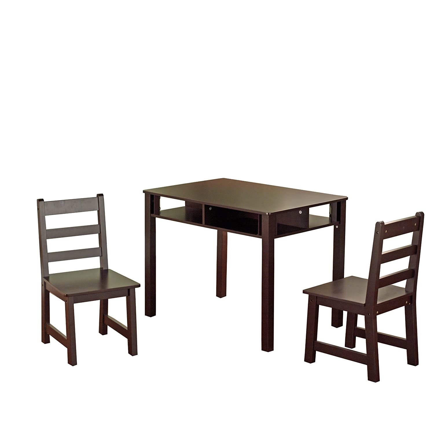 Kid table and chairs wood - Amazon Com Target Marketing Systems 3 Piece Wooden Kid S Table Set With 2 Chairs And 1 Table With Cubby Holes Espresso Kitchen Dining