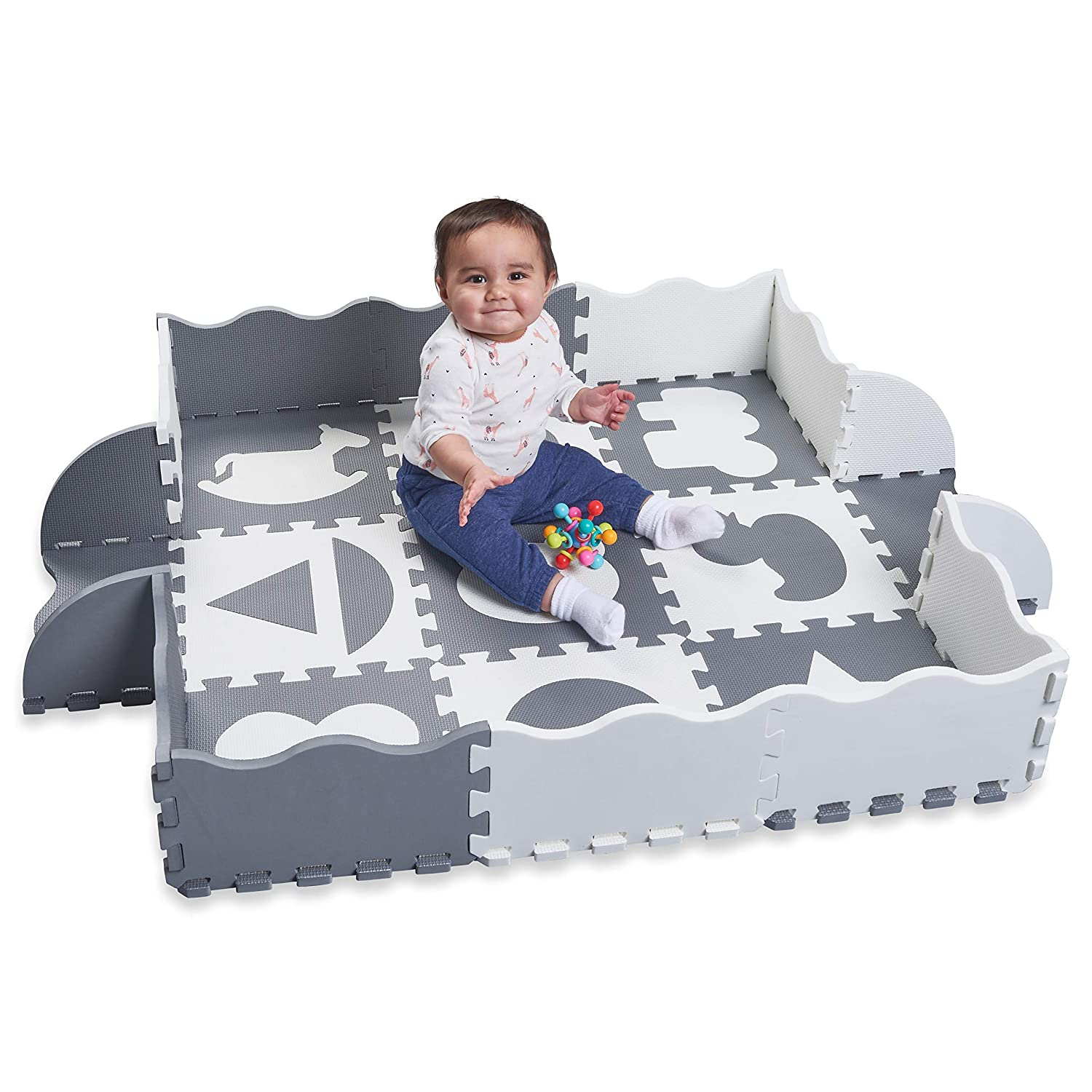 Wee Giggles Non-Toxic Foam Baby Play Mat for Tummy Time, Sitting and Crawling | Grey