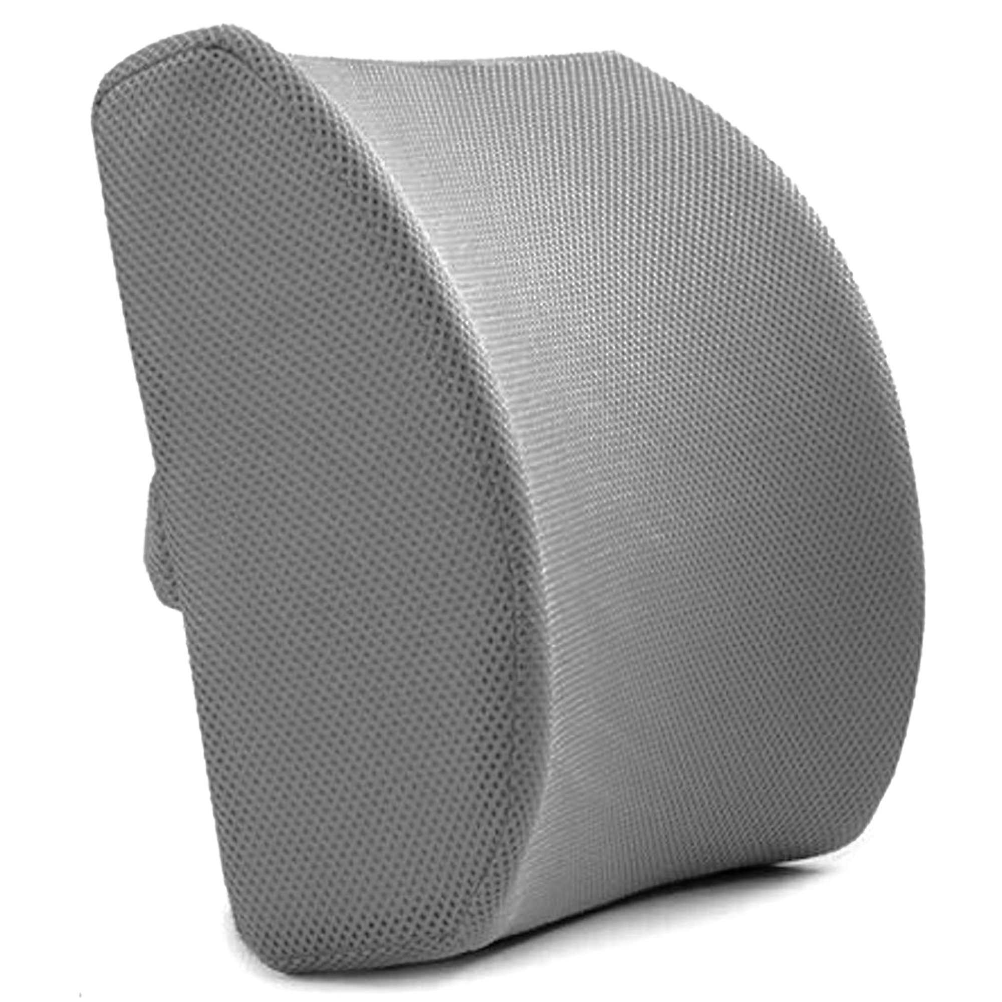 Back Support Cushion (Gray) - Orthopedic Support - Memory Foam Lumbar Support Pillow with 3D Mesh Cover for Balanced Firmness by Slick Solutions
