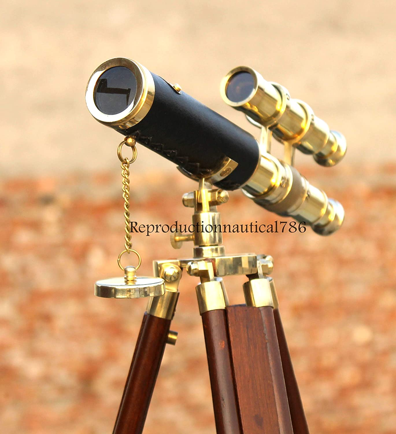 Handmade Solid Brass Black Leather Wrapped Double Barrel Spyglass Telescope with Wooden Adjustable Tripod Stand Marine Desktop Scope Gift Home /& Office Decorative