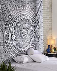 Large Queen Size Grey Ombre Mandala Tapestry - Room Decor Dorm Decorative Boho Bohemian Black and White Medallion Indian Wandbehang Mandala Wall Art Hippie Bohemian Wall Hanging, 90 X 84 Inches