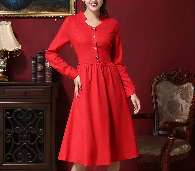 Amazon.com: AS503anakla Fashion Spring Vintage Brief Elegant Slim Red Long Sleeve Knee Length Dresses Single Breast Shirt Midi Casual Vestido Work Wear: ...