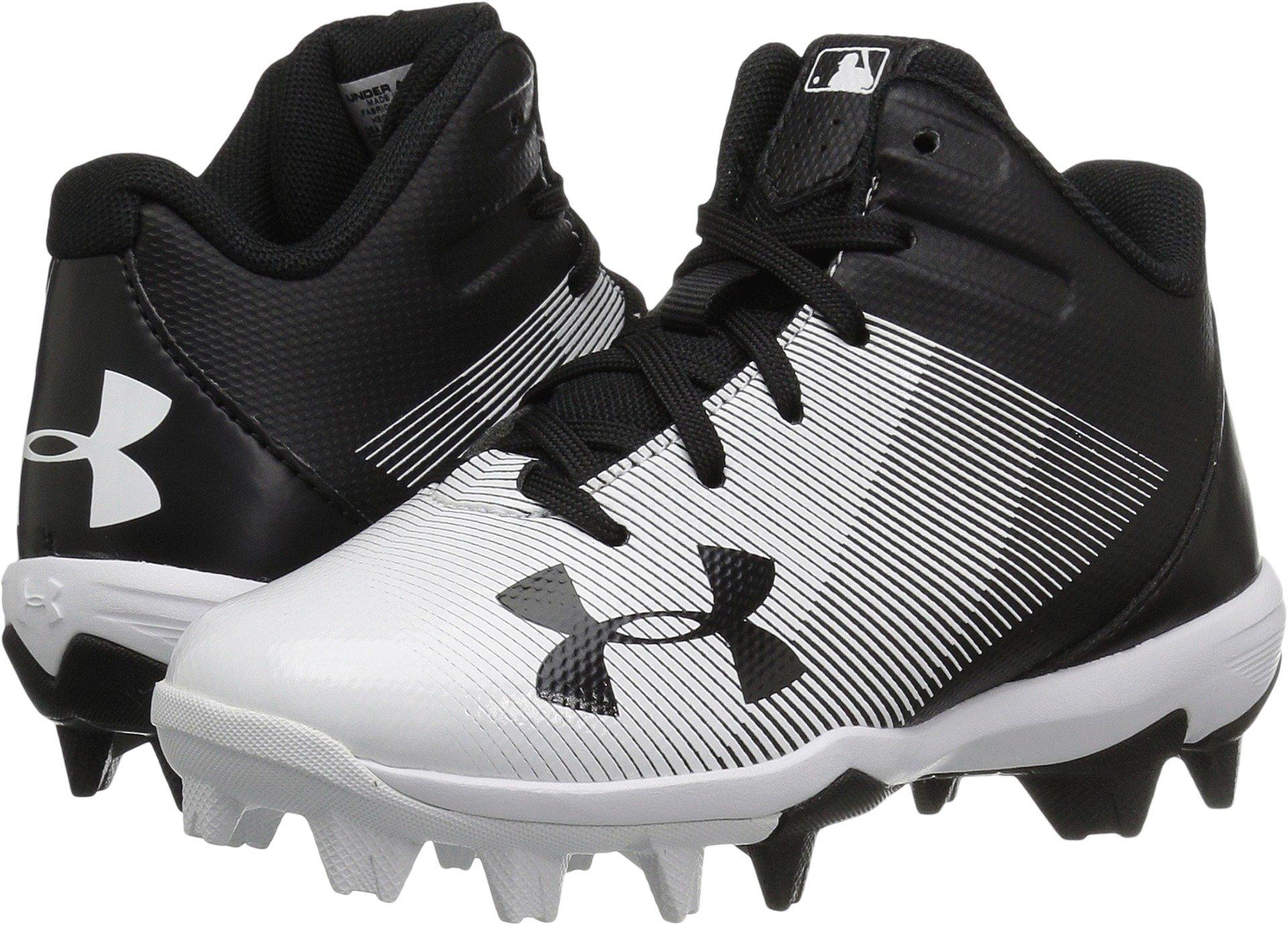 Under Armour Boys' Leadoff Mid Jr. RM Baseball Shoe, Black (011)/White, 2