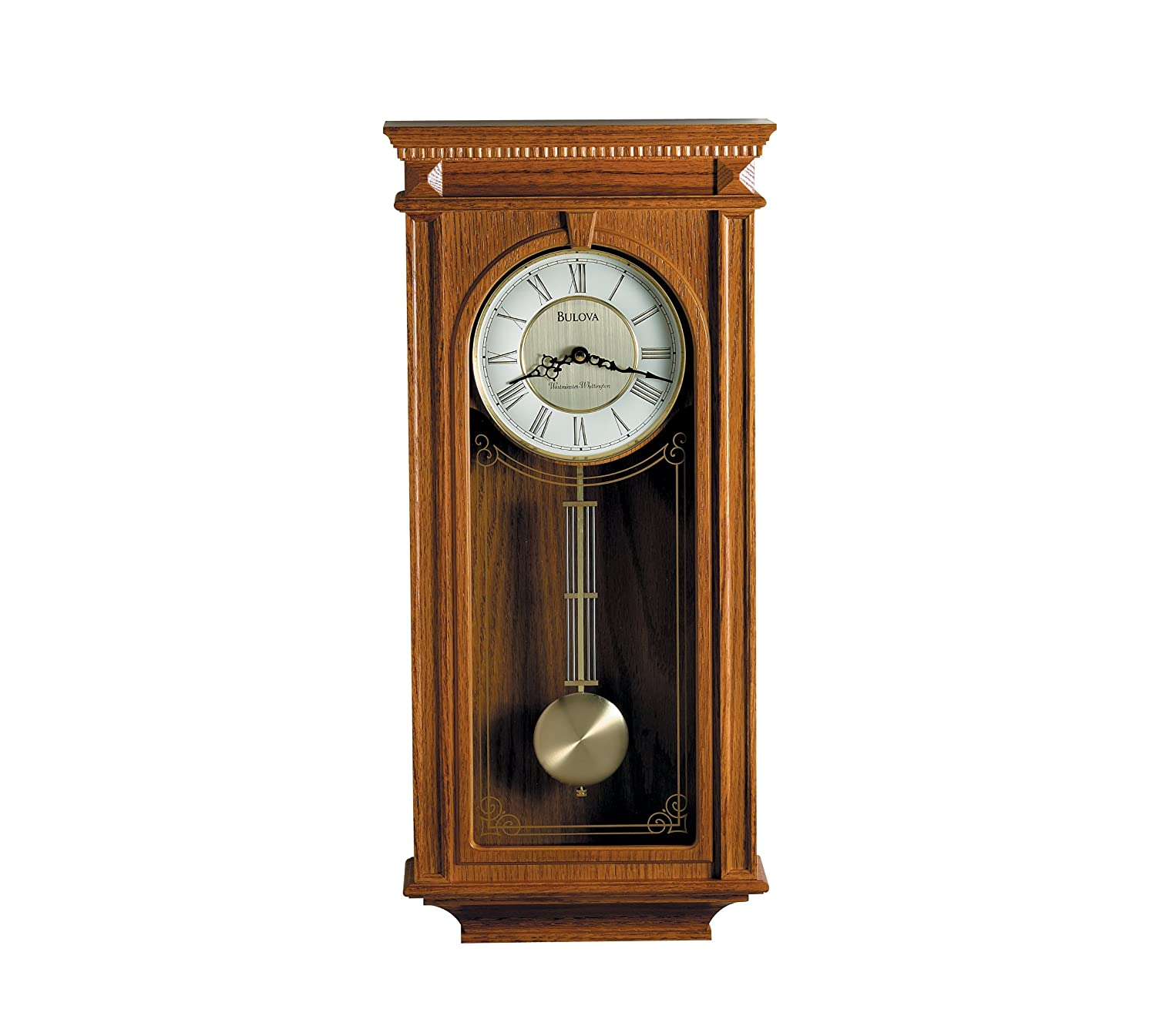 Amazoncom Bulova C4419 Manorcourt Clock Golden Oak Finish Home
