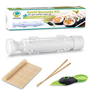 All-In-One Sushi Making Kit | Sushi Bazooka, Sushi Mat & Bamboo Chopsticks Set + 3in1 Avocado Slicer | DIY Rice Roller Machine | Very Easy To Use | Must-Have Kitchen Appliance