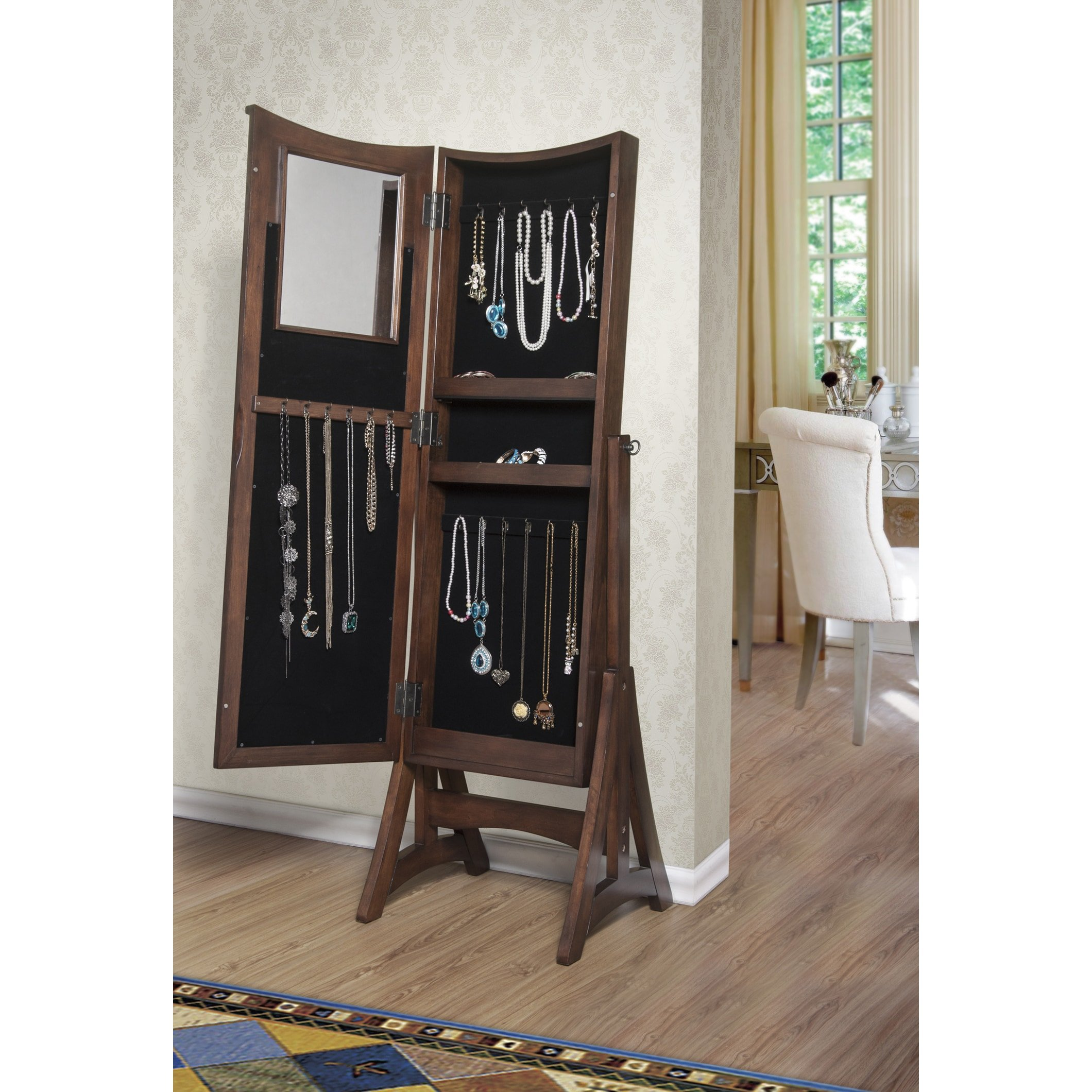 W Unlimited Bedford Classic Long Cheval Mirror Jewelry Cabinet Armoire for Necklaces, Rings, Earrings, Bracelets Storage Organizer Stand, Brown by WUnlimited (Image #2)