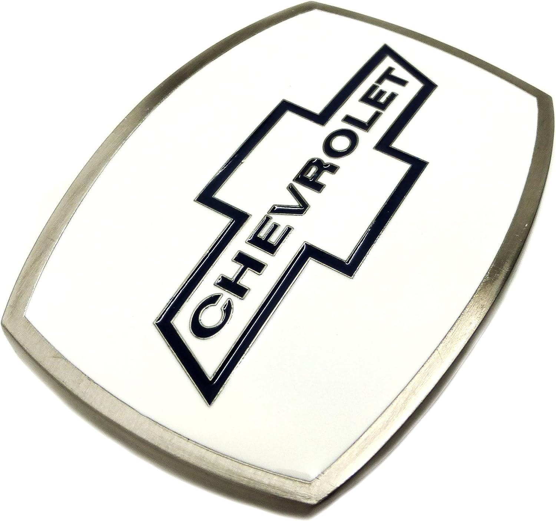 Offiziell Lizenziertes Produkt Chevrolet G/ürtelschnalle Spec Cast Sammler Chevy Wei/ß Emaille