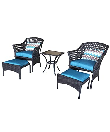 Back Yard Classics SVS3V83 3 Bainbridge Wicker Chair Set With Ottoman (3  Piece)
