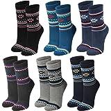 Lavazio® 6 Paar warme und kuschlige Damen Thermosocken Schneeflocken und Streifen in 6 Farben