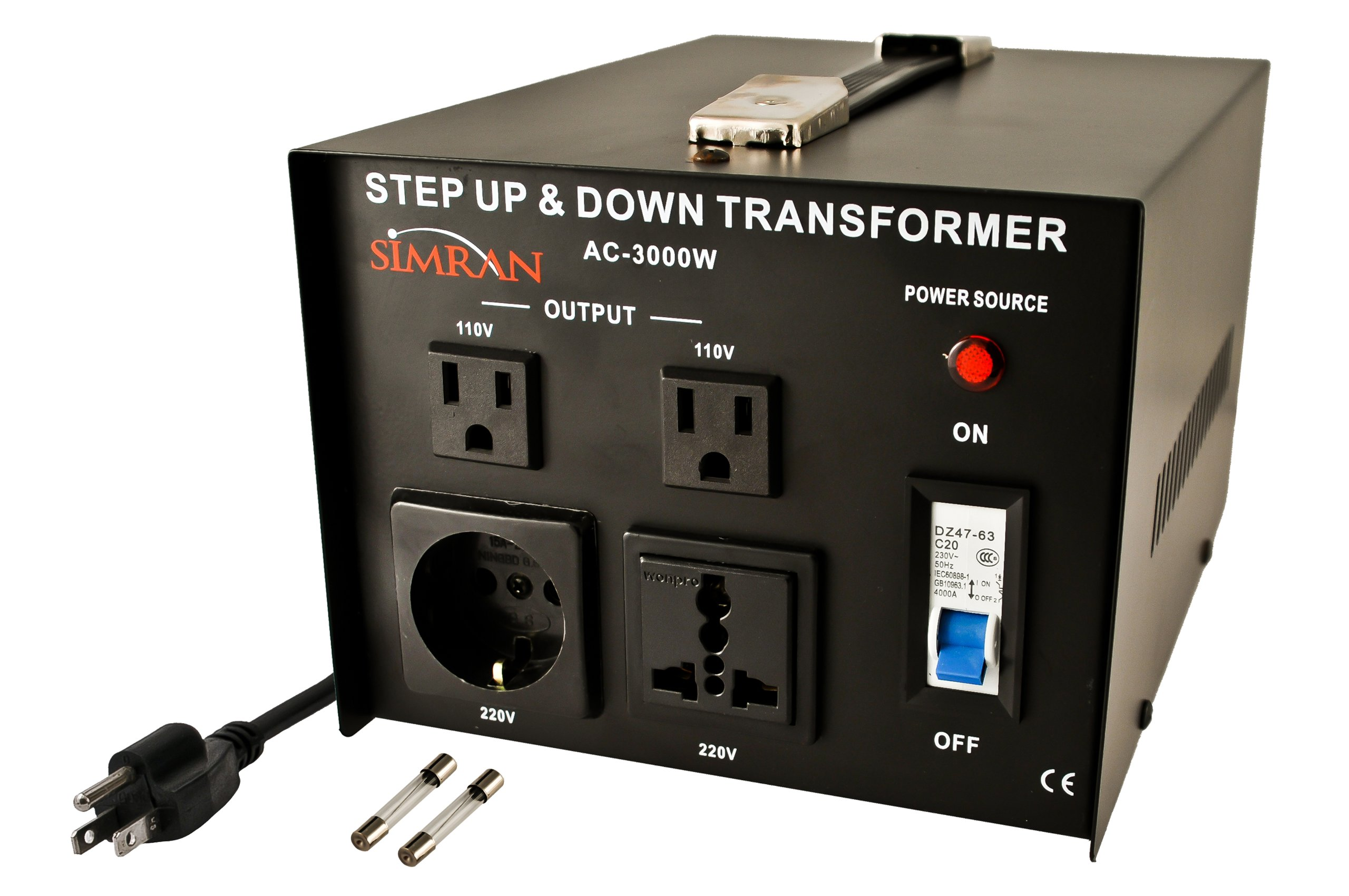 Simran AC-3000  Step Up/Down Voltage Transformer 3000 Watts Power Converter for Conversion Between 110 Volt and 220 Volts, CE Certified by Simran