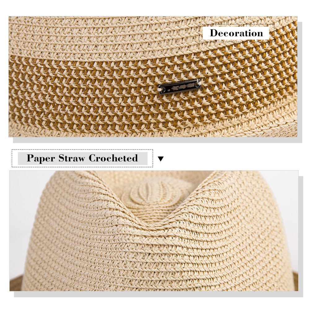 017a7307864 SiggiHat Fedora Straw Fashion Sunhat Packable Summer Panama Beach Hat Men  Women 56-61CM CM99041
