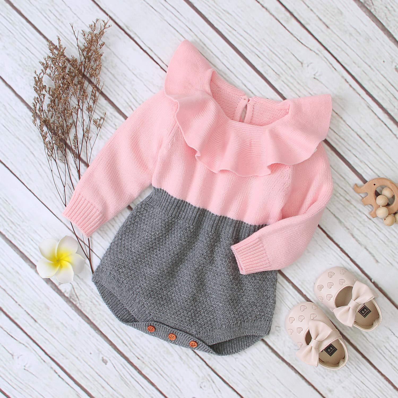 Newborn Baby Girl Knitted Ruffle Romper Lotus Leaf Collar Bodysuit Princess Stripes Sweater Fall Winter Jumpsuit