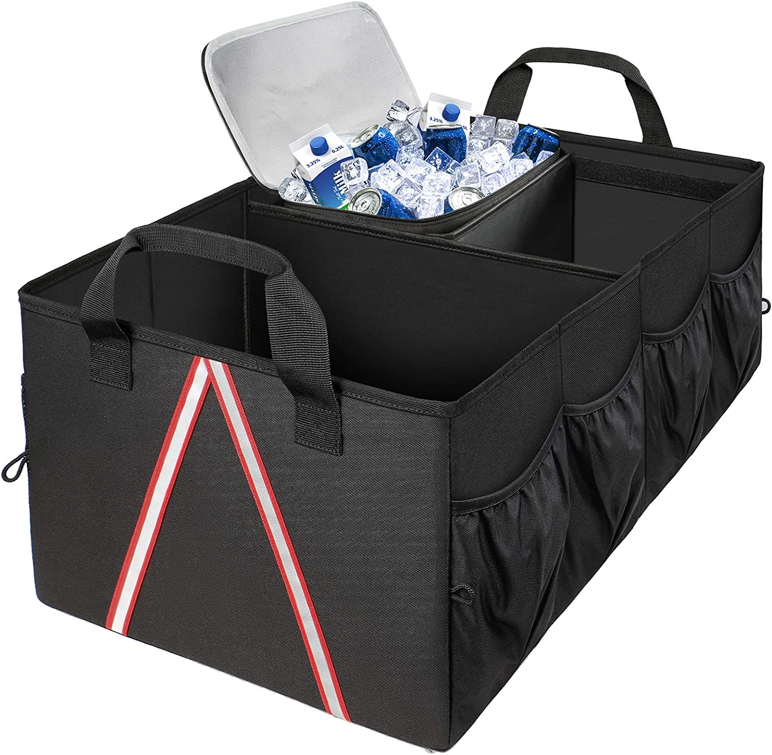 Car Trunk Organizer, Large Cargo SUV Trunk Organizer with Cooler and Pockets, Expendable Car Organizers and Storage Bag for Groceries Accessory for Women, Suit Any Vehicle Sedan Caddy SUV, Black