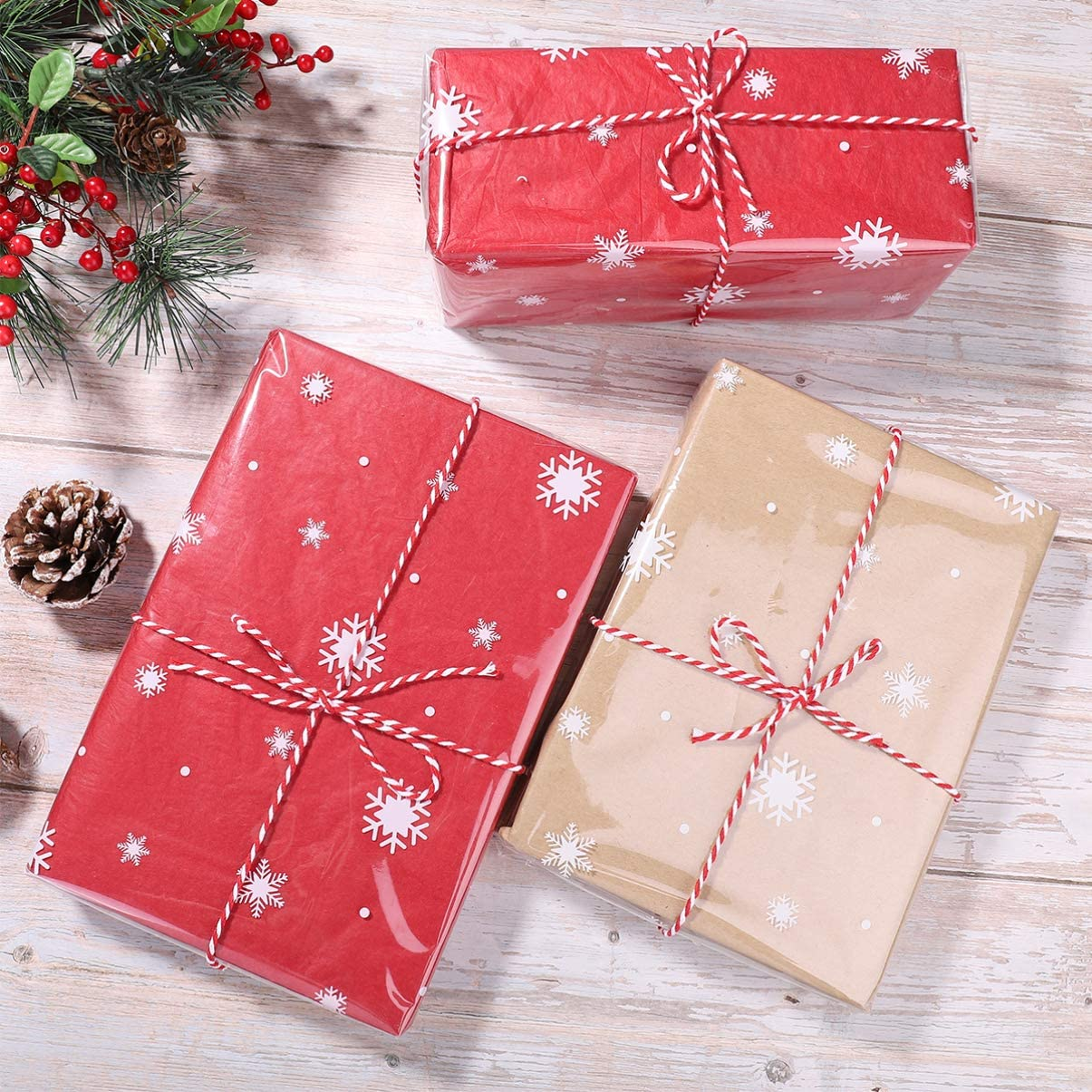 NUOBESTY Christmas Wrapping Paper 1Roll 30mx40cm 2.5 Mil Santa Claus Snowman Cellophane Wrap Santa Thick Florist Wrapping Cellophane Paper for Arts Crafts Baskets