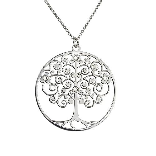 45d7c9a6d898 AKA Joyas - Collar Plata de Ley 925 con Colgante Árbol de la Vida y Cristales  Swarovski