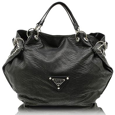 963b7b4ba64dd Jennifer Jones 3445 Handtasche Damen Shopper Damentasche Henkeltasche  Beuteltasche Tasche grau
