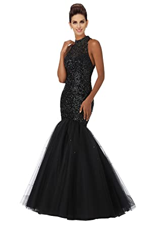 Mermaid Prom Dresses 2018 Luxury Crystal Beads Sequins High Neck Open Back Evening Gowns Party Dress