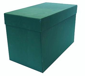 Elba 100580265 - Caja de transferencia de cartón forrado con tela, 21 cm, color verde: Amazon.es: Oficina y papelería