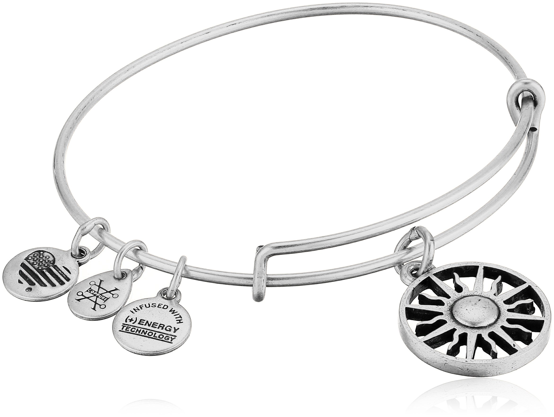 Alex and Ani Women's Rising Sun Charm Bangle Bracelet, Rafaelian Silver, Expandable