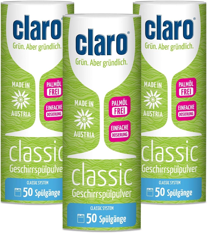3x claro Eco Classic Polvo para Lavavajillas en Envase de 900g - Ideal para Dosificar - Biológico