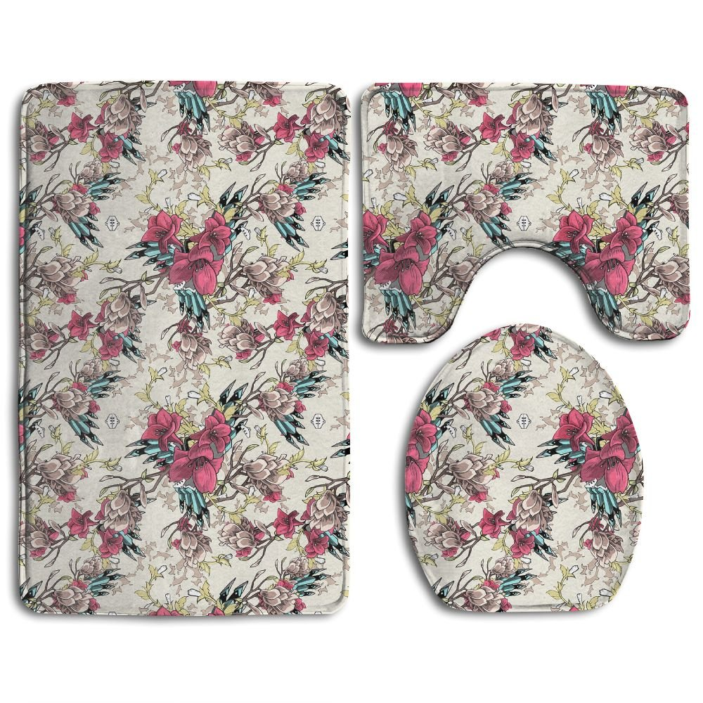Huayaa Bathroom Non-Skid Carpet Bath Rugs 3 Pieces Set Water-Absorbing Floral Wallpaper Flannel Toilet Floor Bath Mats Contour Rug Lid Cover by Huayaa