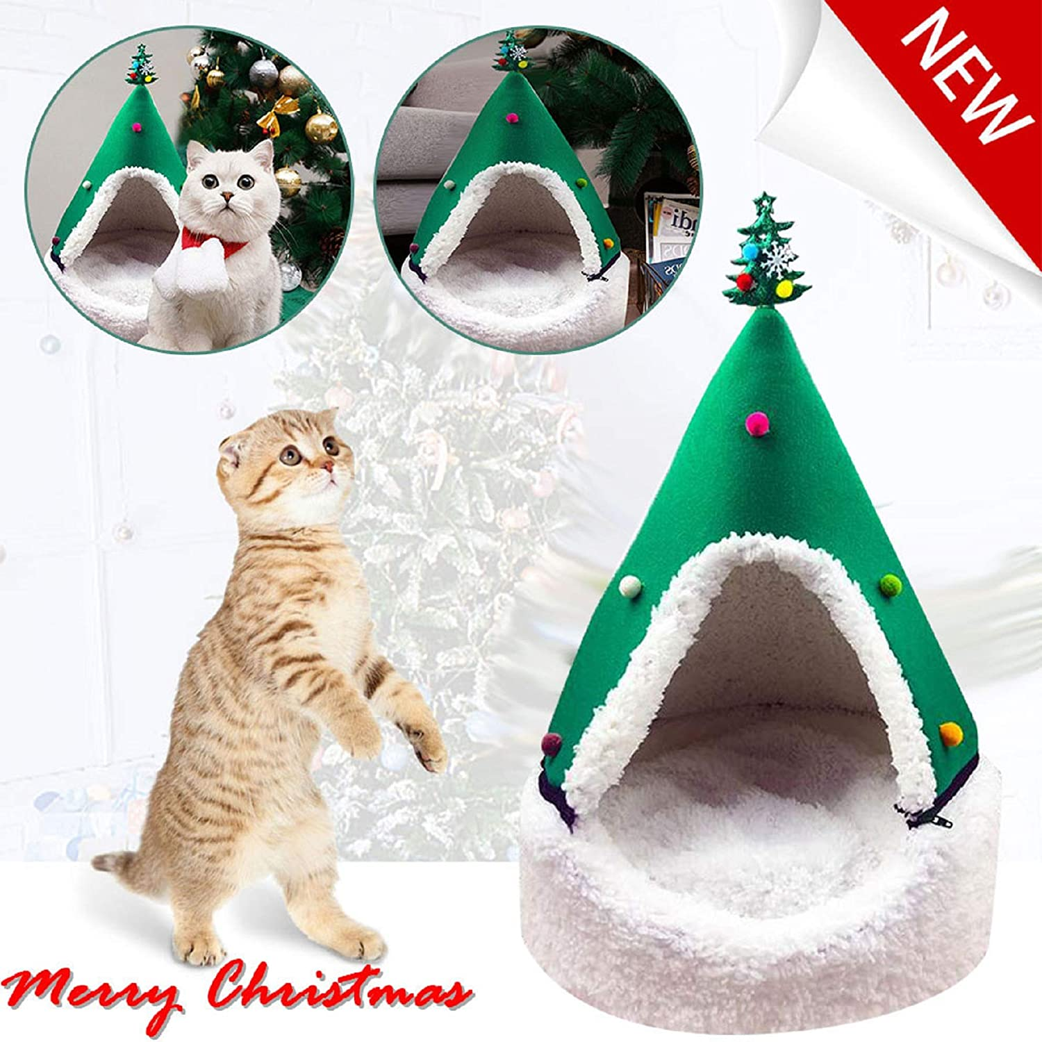 m·kvfa Christmas Tree Kennel Cat House Half Closed Xmas Tree Shape Pet Nest Pet Bed Warm Soft Winter Pet Cat Tent Indoor Cats Cave for Cats and Small Dogs