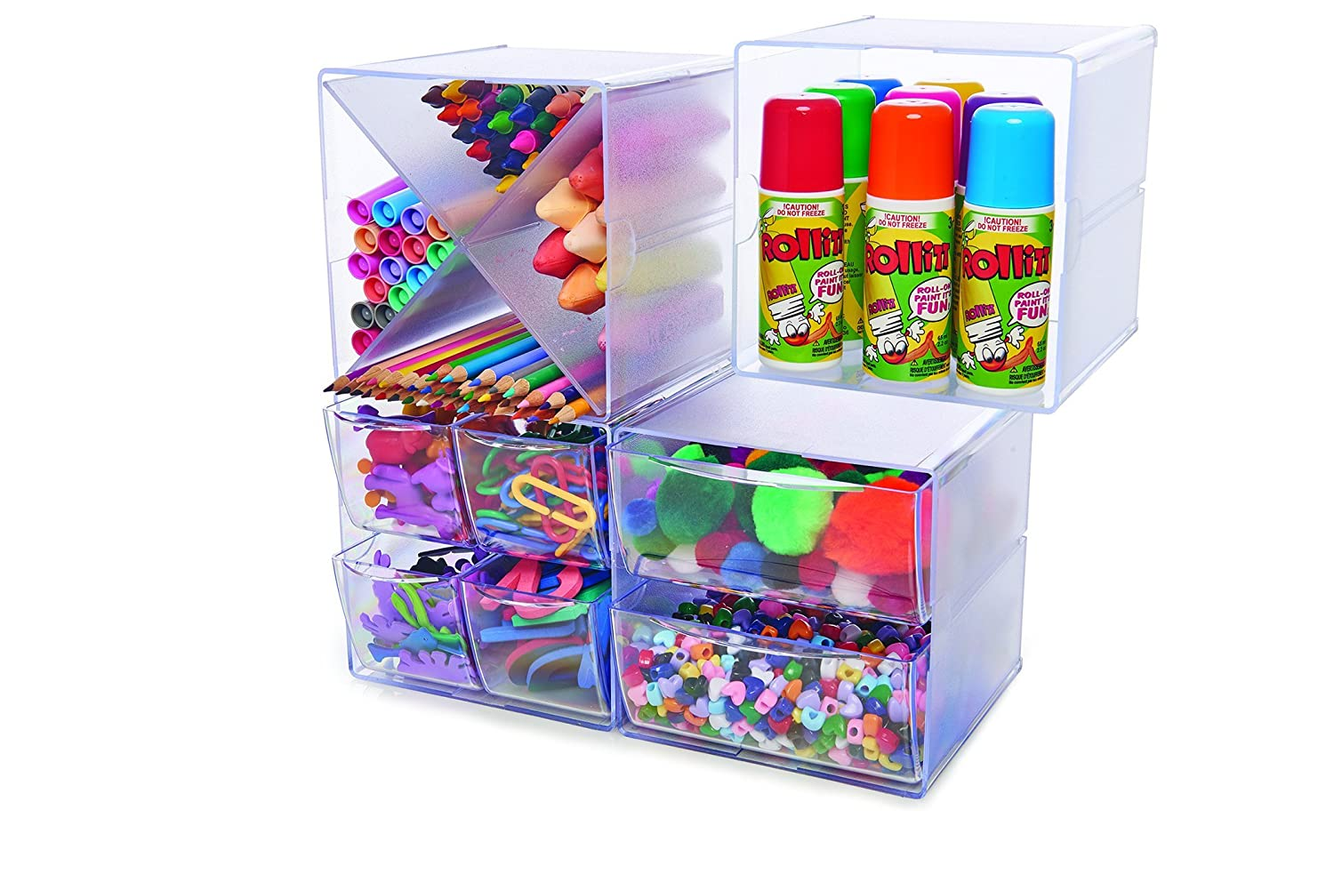 Deflecto Desk Cube Organizer with Drawer, 7 x 6 x 6 Inches, Clear (350801) Deflect-o Products