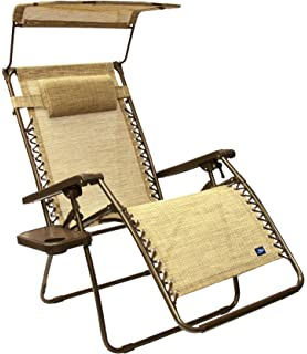 Genial Bliss Hammocks Wide Gravity Free Lounger Chair With Pillow And Canopy And  Side Tray, Sand