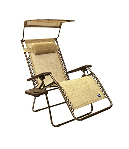 Medium image of bliss hammocks wide gravity free lounger chair with pillow and canopy and side tray sand