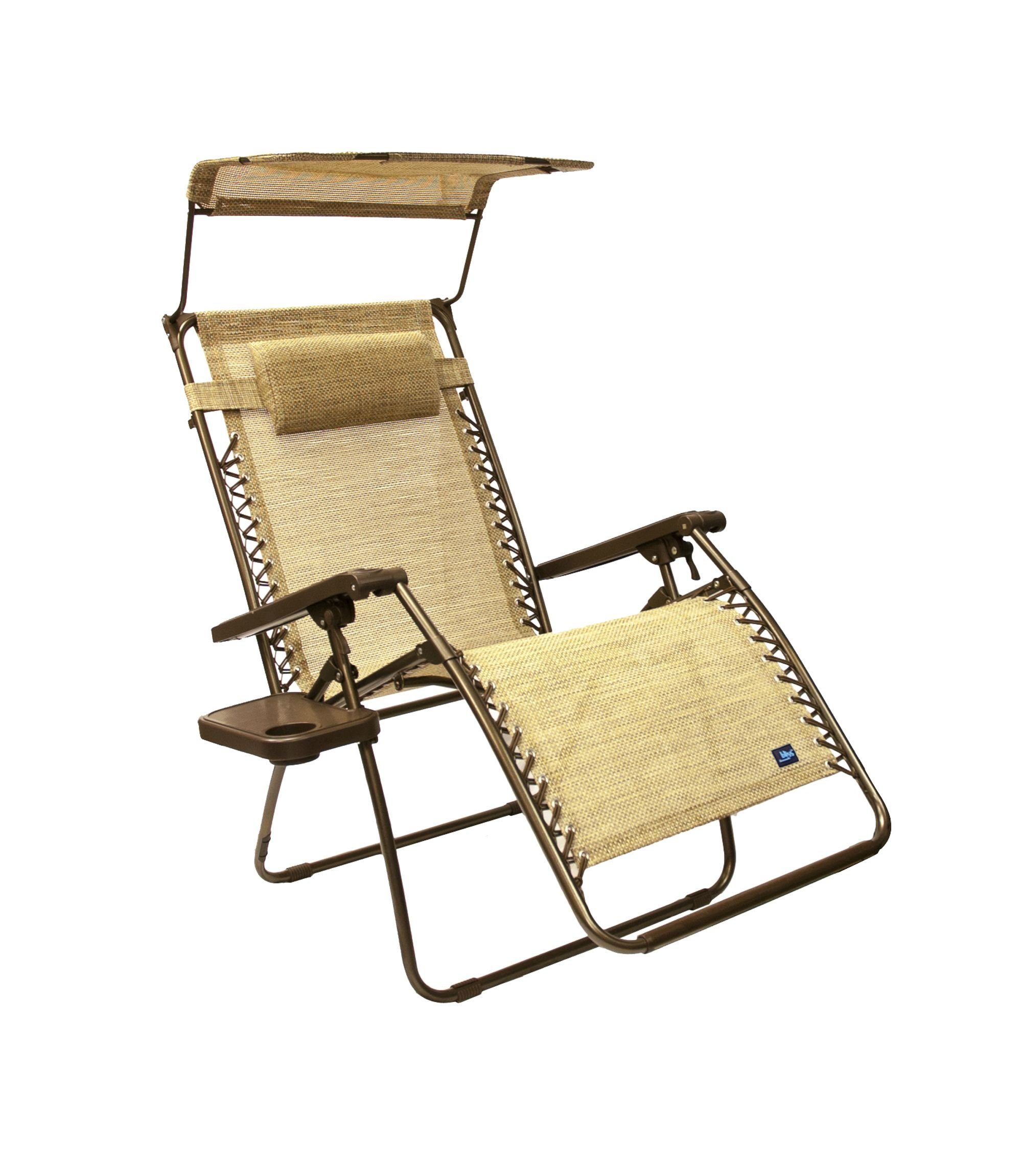 Bliss Hammocks Wide Gravity Free Lounger Chair with Pillow and Canopy and Side Tray, Sand