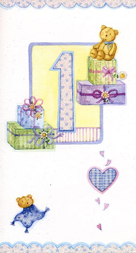 Happy 1st Birthday Boy Card Finished With Crystal Holographic