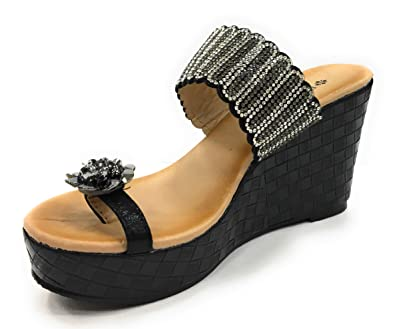 1a001034a31 ITALIAN Shoemakers Patrizia Women s Flowerina Wedge Sandal Thong with  Rhinestone (36