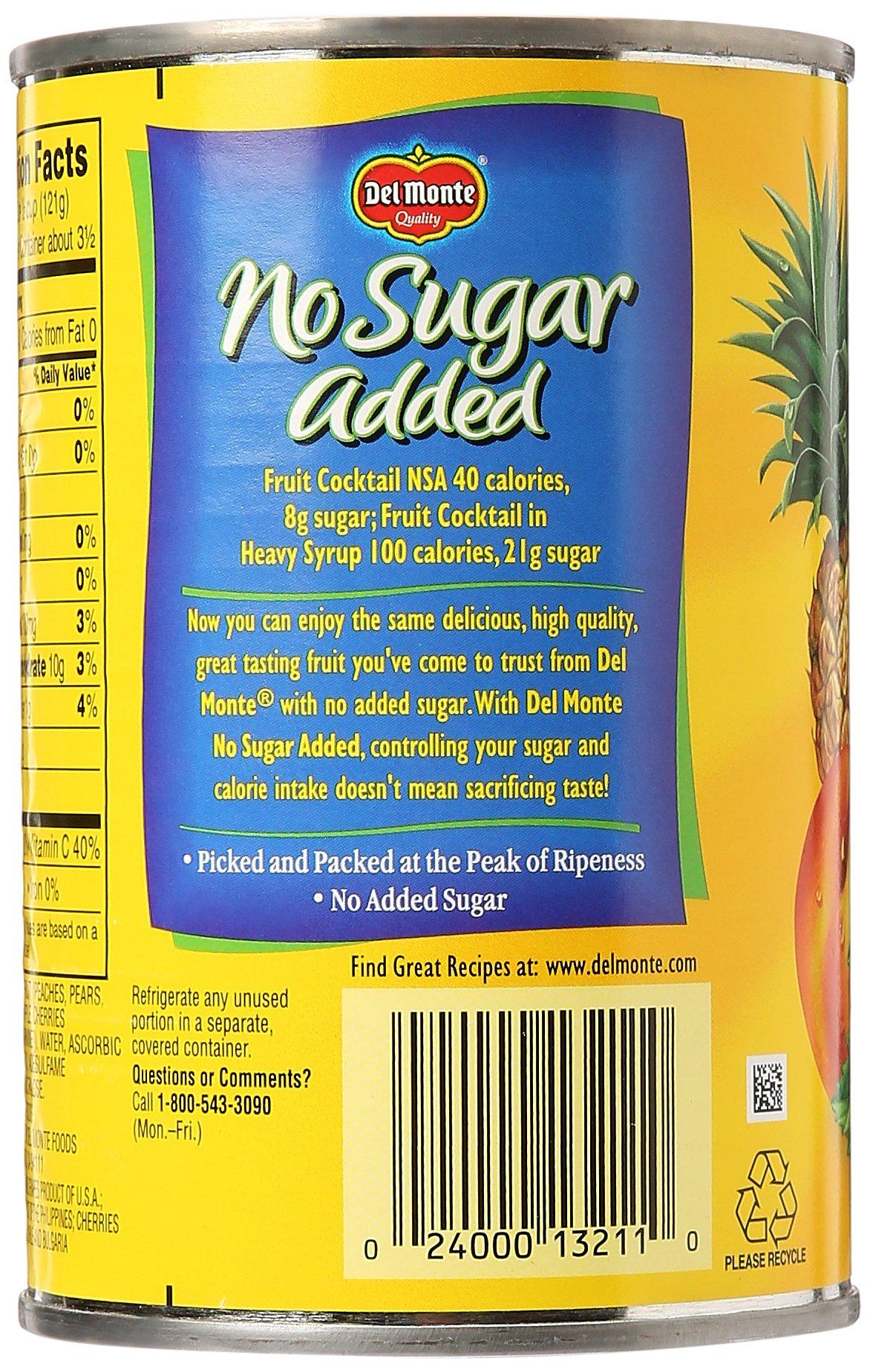 Del Monte Canned Fruit Cocktail, No Sugar Added, 14.5-Ounce