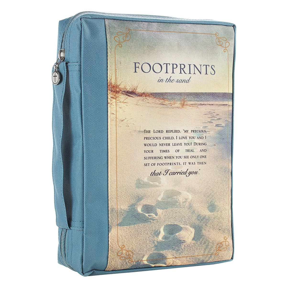 Footprints Poem Printed Blue Poly-Canvas Bible / Book Cover (Medium)