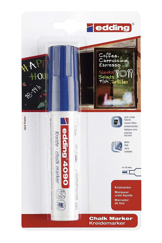 edding 4090-1-03 - Blíster con 1 marcador de tiza líquida para pizarras y vidrio, con punta redonda, grosor de trazo 2-3mm, color azul