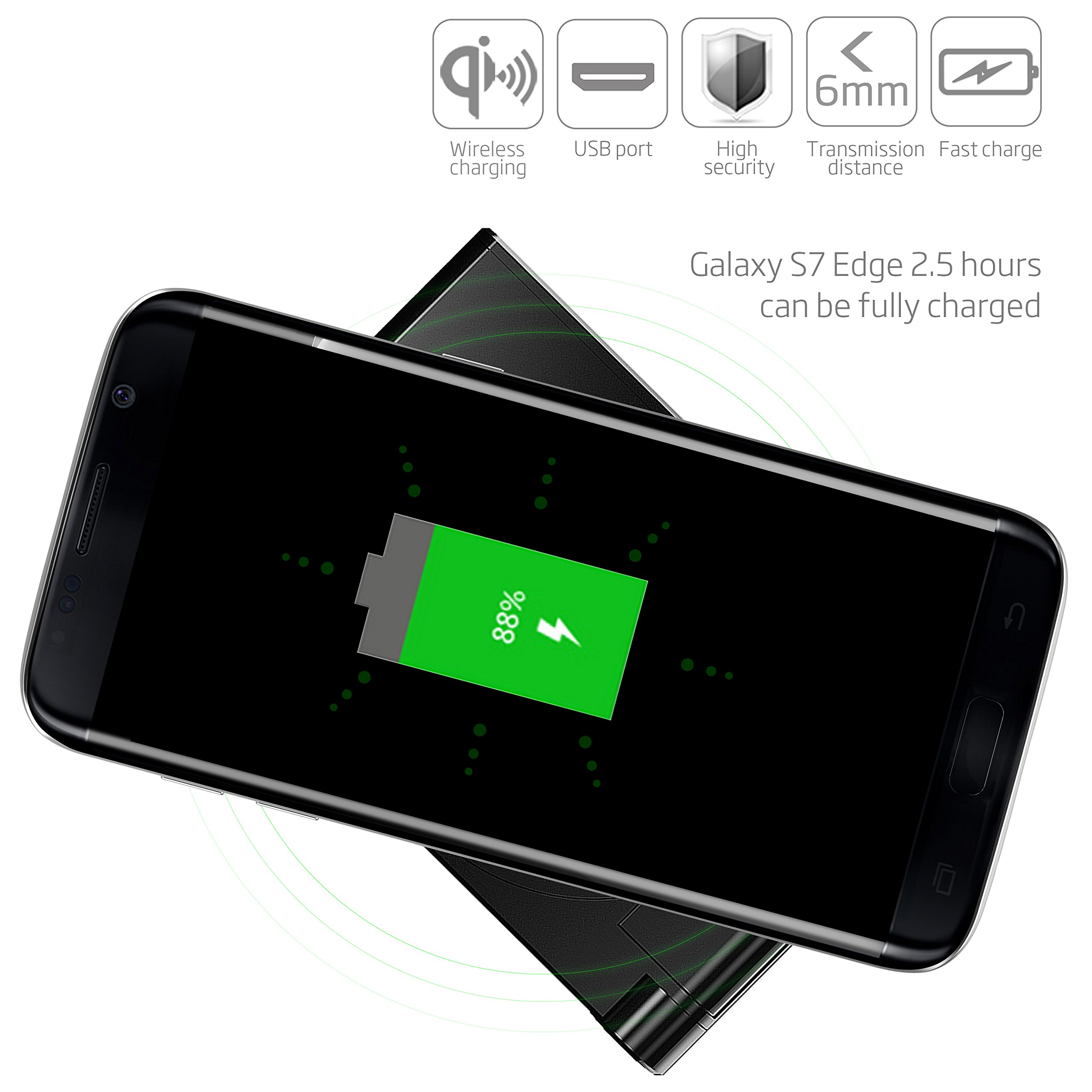 Wireless Charger-LOVPHONE QI Wireless Charging Stand Pad Quick Charge for Samsung Galaxy S7, S7 Edge, Galaxy S6, ,S6 Edge ,S6 Edge Plus,Note 5, (AC Adapter Not Included) (Black)