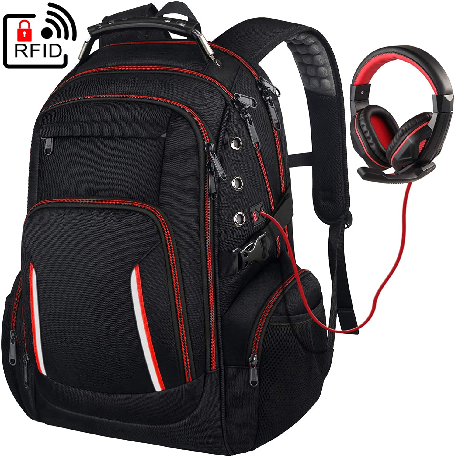 Large Laptop Backpack for Men, 15.6 17 17.3 Inch Computer Compartment Business Traveling Bookbag